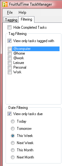 FruitfulTime Task Manager - Filters