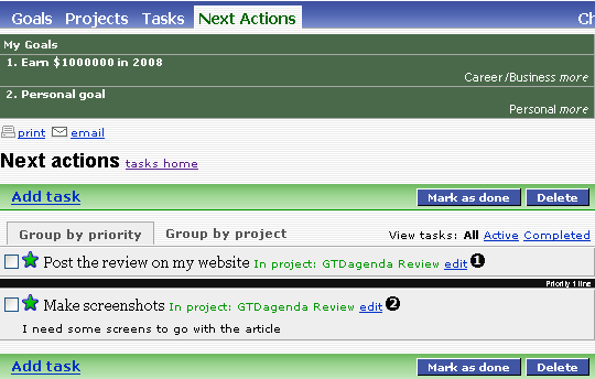 GTDagenda Next Actions